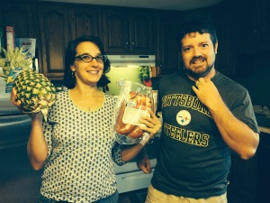 from left to right: Pineapple, me, kielbasa, my husband Cliff. Photo by Bryan Crandall, and this will make sense by the end of the post.