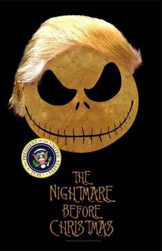 Jack from the movie Nightmare before Christmas, with the movie's name below a round skull with a wide grin topped with a swoop of hair like Trump's with the presidential seal off to the side on a black background